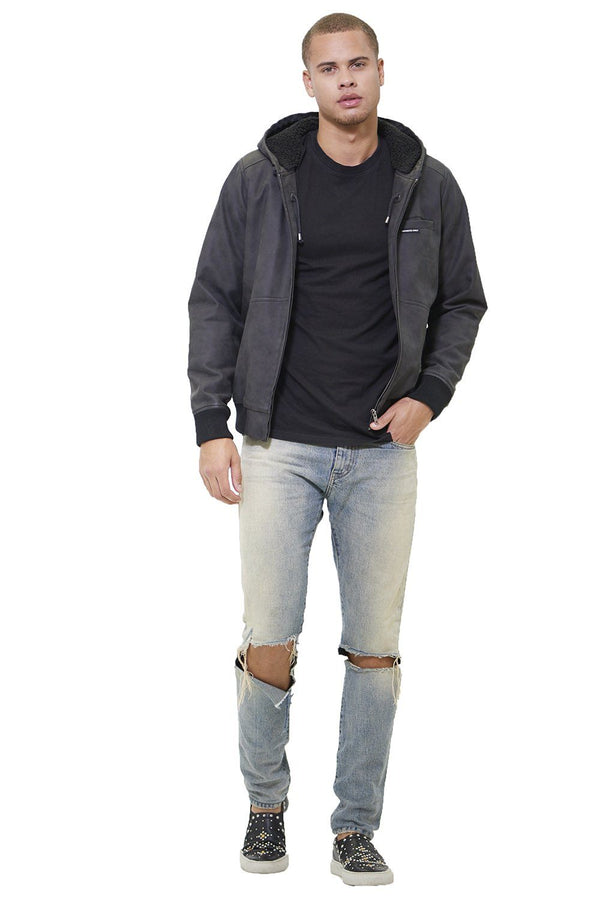 Men's Faux Suede Hoodie Bomber Jacket - Members Only Official