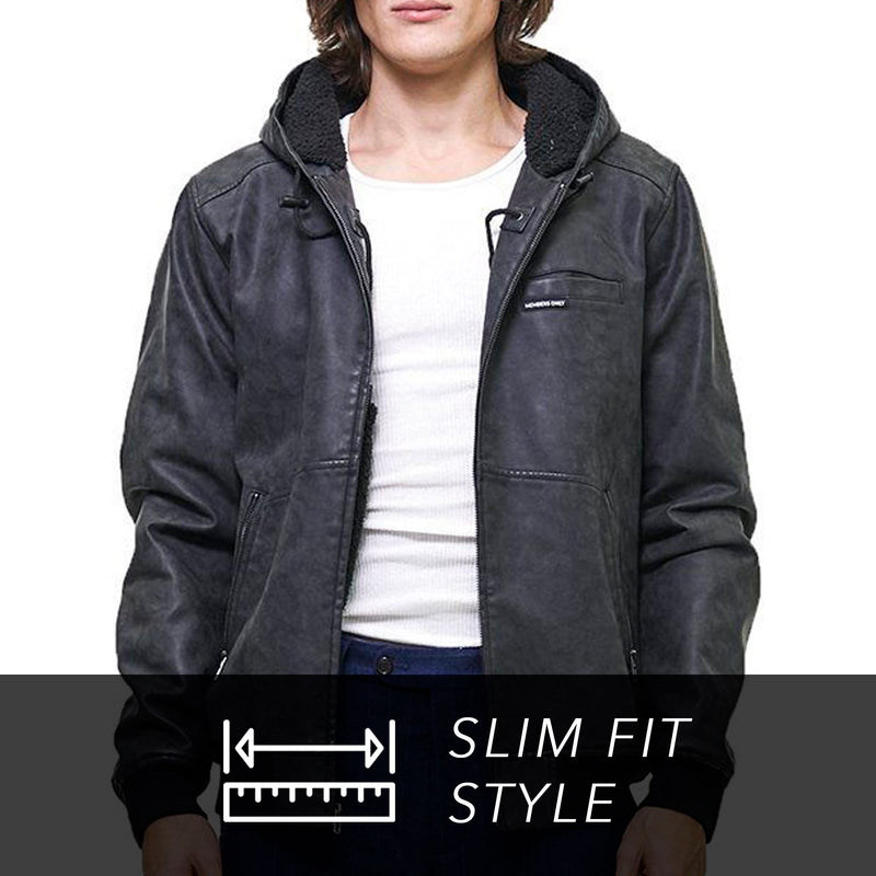 Members Only Faux Suede Hoodie Bomber Jacket for Men