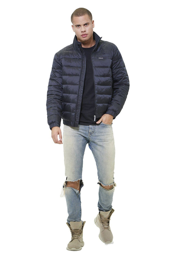 Faux Leather Moto Puffer Jacket for Men