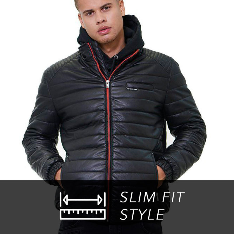 Men Faux Leather Moto Puffer Jacket