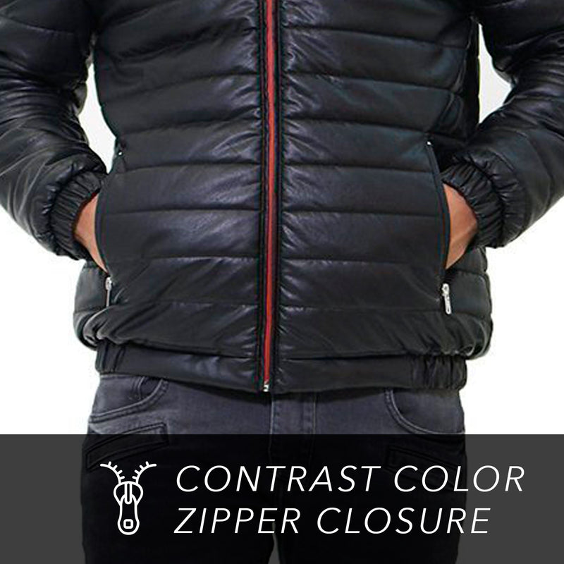 Men Faux Leather Moto Puffer Jacket - Members Only