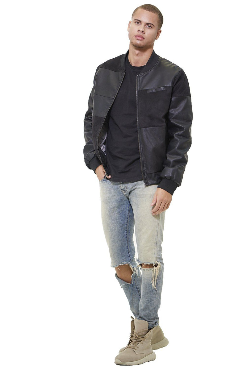 Mixed Suede Color Block Bomber Jacket for Men
