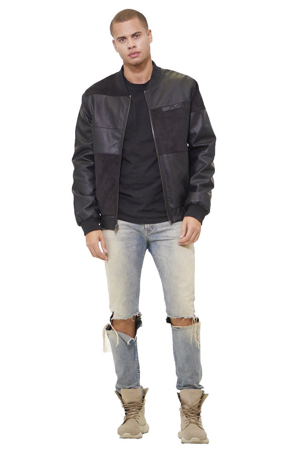 Men's Mixed Suede Color Block Bomber Jacket - Members Only Official