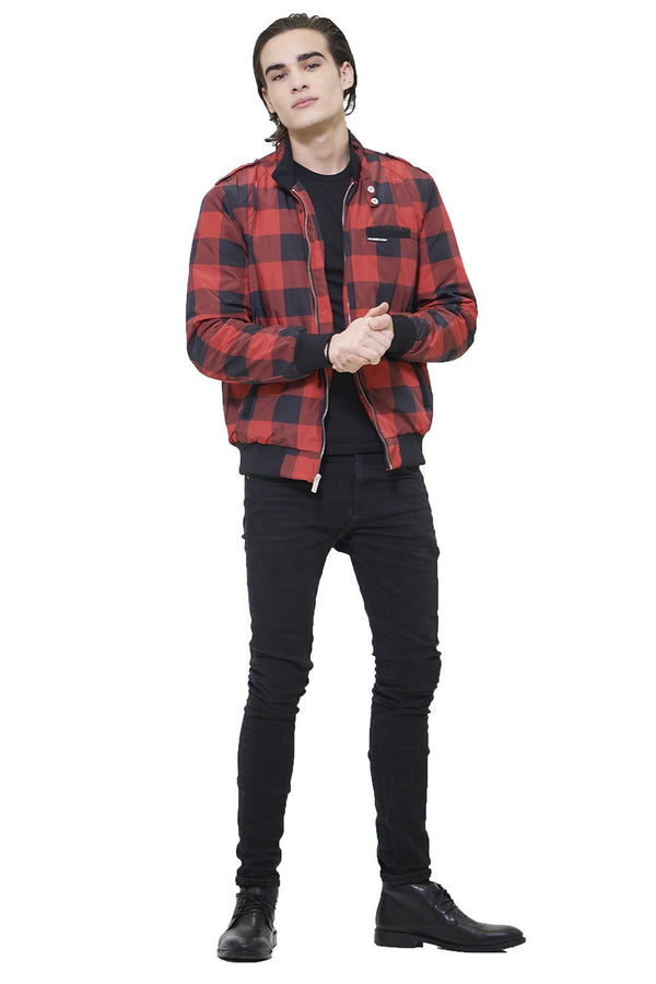 Men's Buffalo Plaid Iconic Racer Jacket - Members Only Official