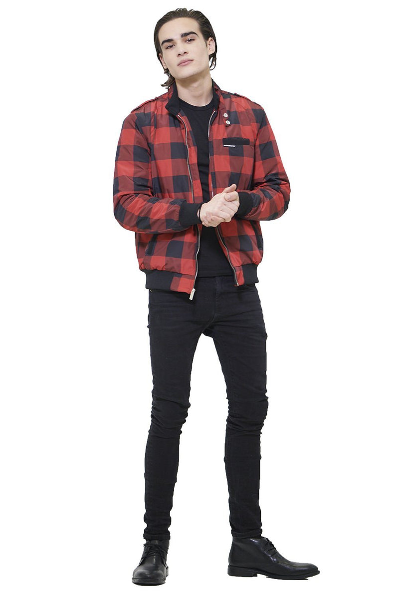 Members Only Men Buffalo Plaid Iconic Racer Jacket Red