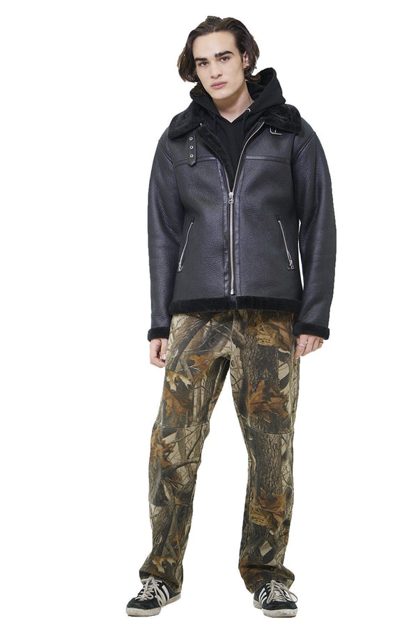 Men's Faux Shearling Biker Jacket - Members Only Official