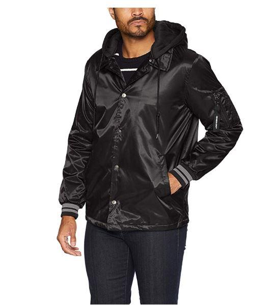 Men's Coach Jacket with Fleece Hood - Members Only Official