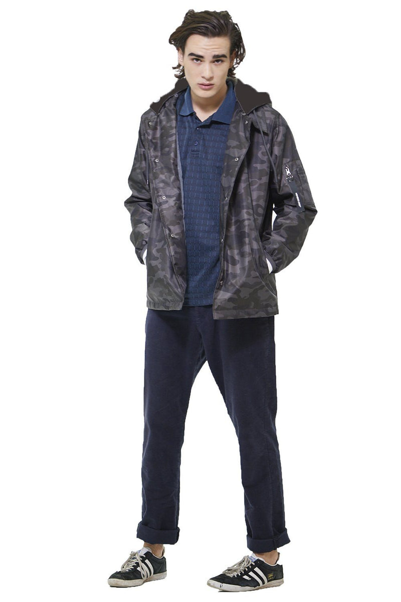 Clearance - Men's Coach Jacket with Fleece Hood