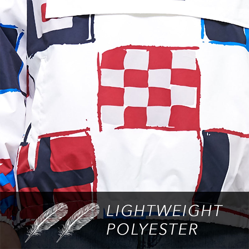 Men's Flag Print Pullover Windbreaker Jacket
