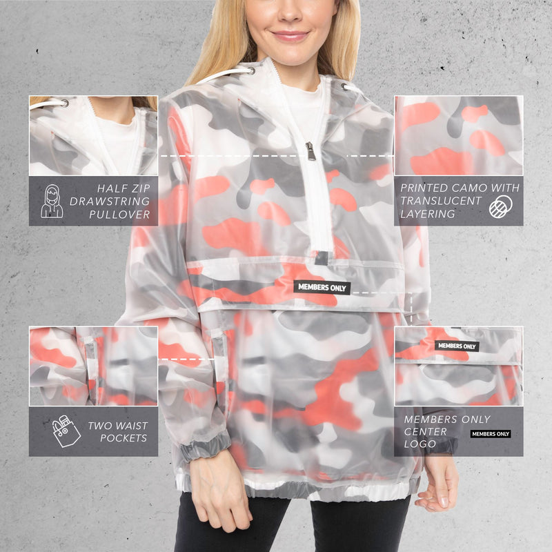 Men's Translucent Camo Print Popover Jacket For Women