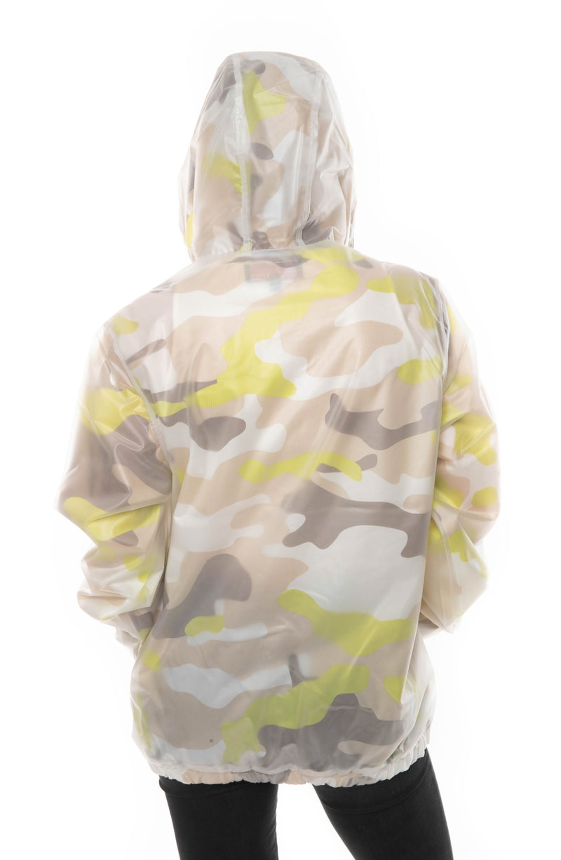 Men's Translucent Camo Print Popover Jacket For Women - Members Only
