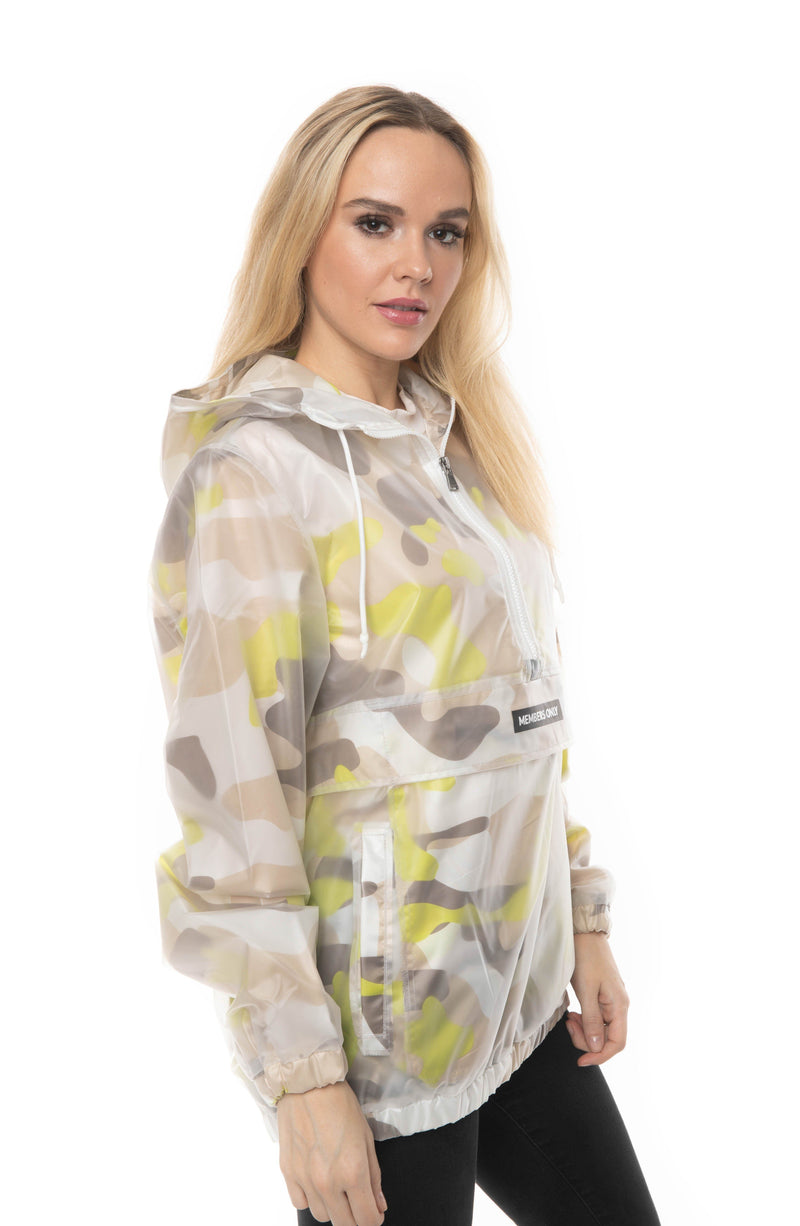 Members Only Men's Translucent Camo Print Popover Jacket For Women
