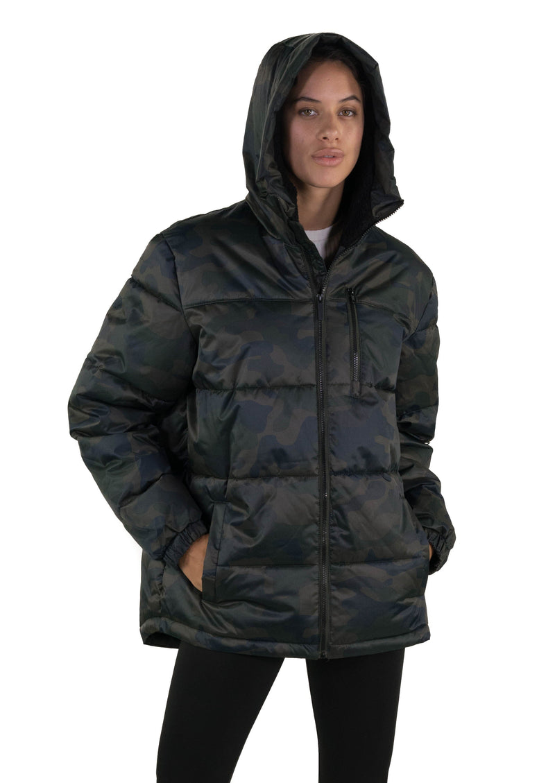 Men's Twill Block Puffer Jacket for Women