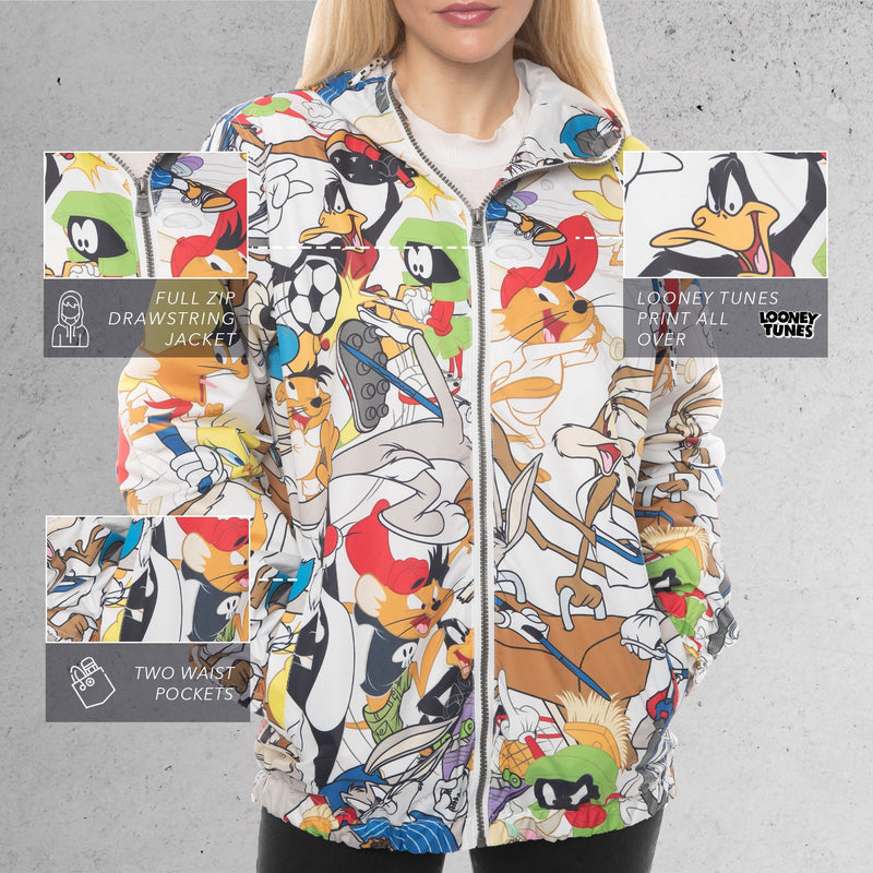 Members Only Looney Tunes Collab Print Windbreaker Jacket For Women