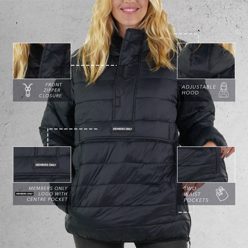 Members Only Men's Popover Puffer Jacket for Women