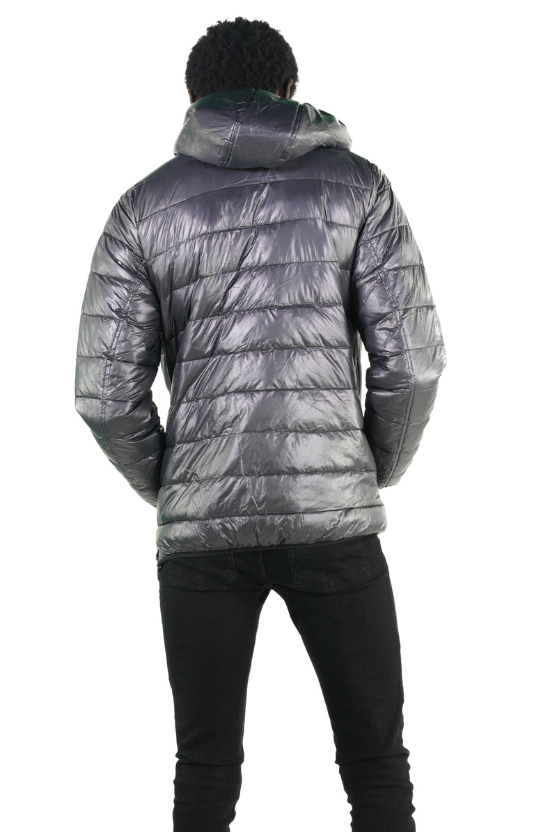 Gunmetal Popover Puffer Jacket for Men