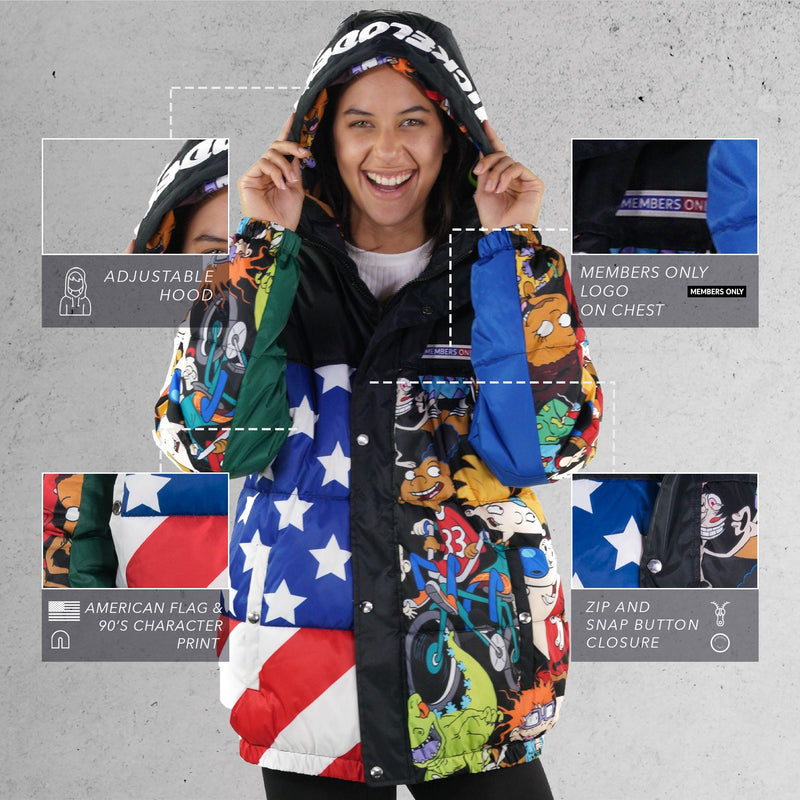 Men's Nickelodeon Flag Print Puffer Jacket for Women