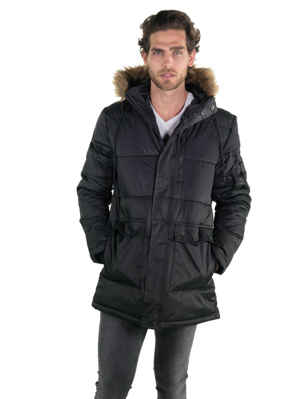 Members Only Men's Snorkel Puffer Jacket  Black