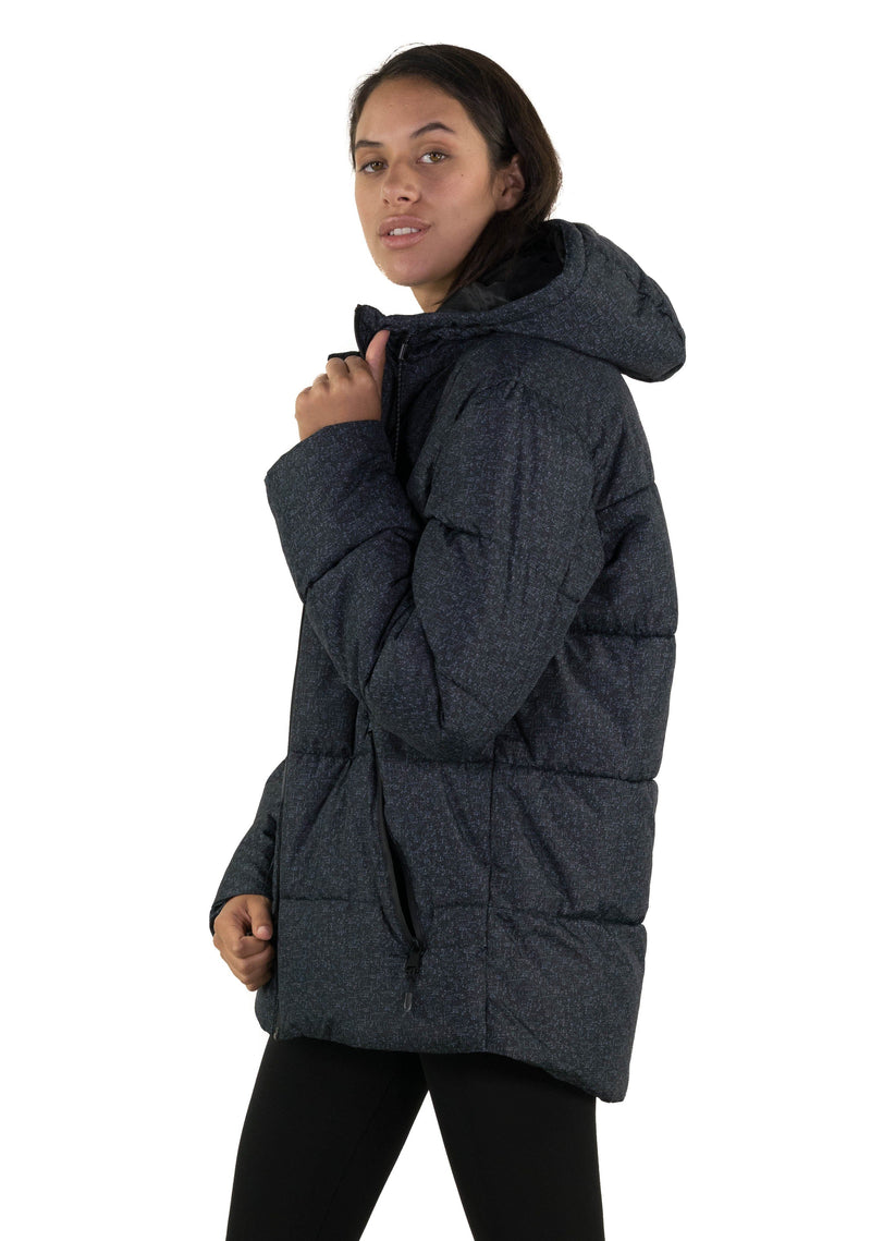 Men's Heather Print Puffer Jacket for Women