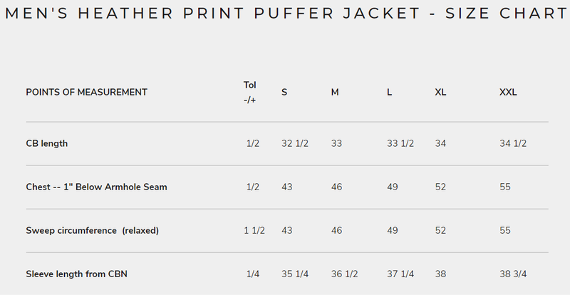 Men's Heather Print Puffer Jacket - Size Chart