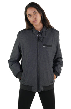Men's Iconic Racer Heather Jacket for Women Charcoal