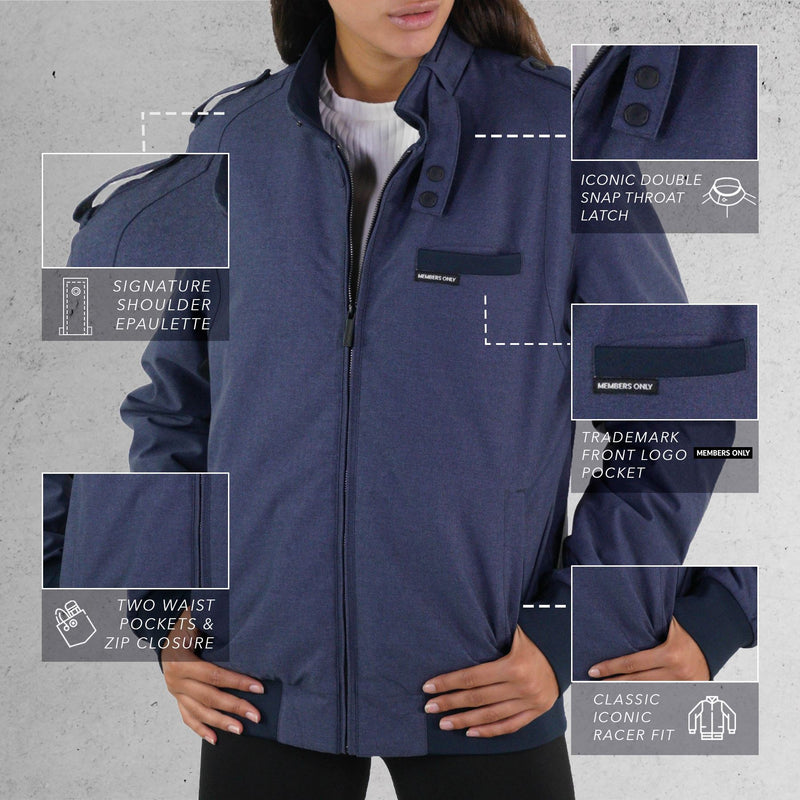 Men  Iconic Racer Heather Jacket for Women Navy