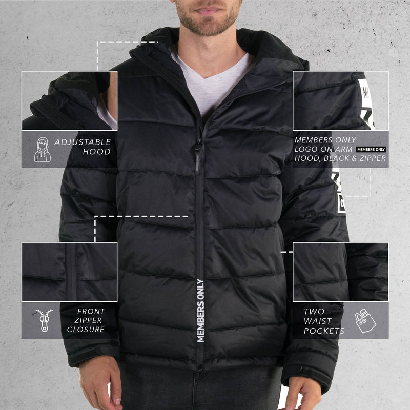 Men's Twill Puffer Jacket Black Front