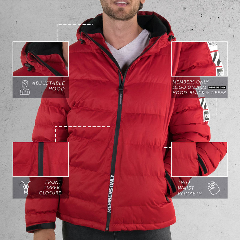 Men's Twill Puffer Jacket Red Front