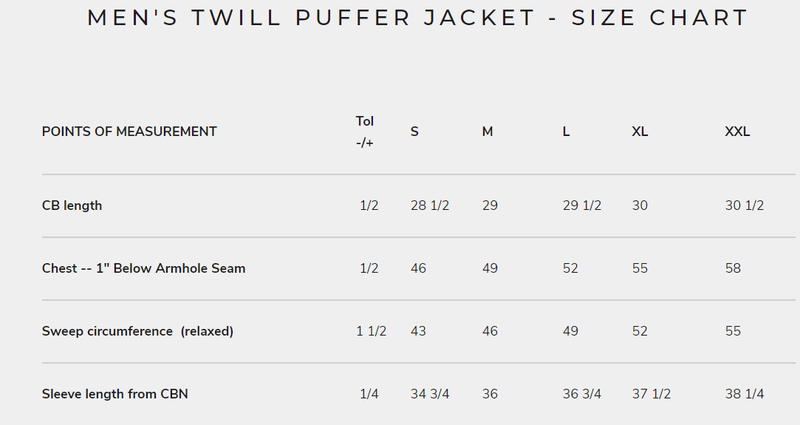 Men's Twill Puffer Jacket for Women