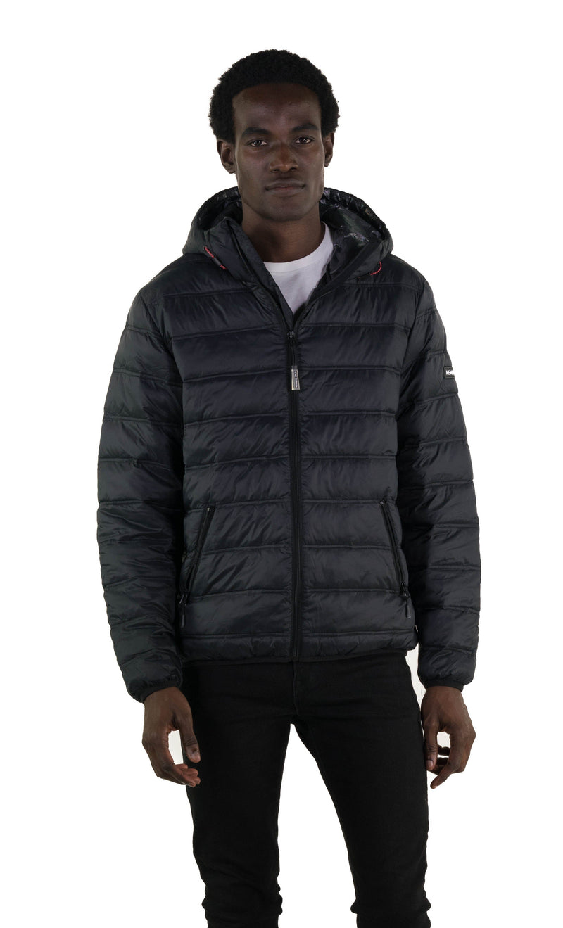 Men's Zip Front Puffer Jacket Black Front