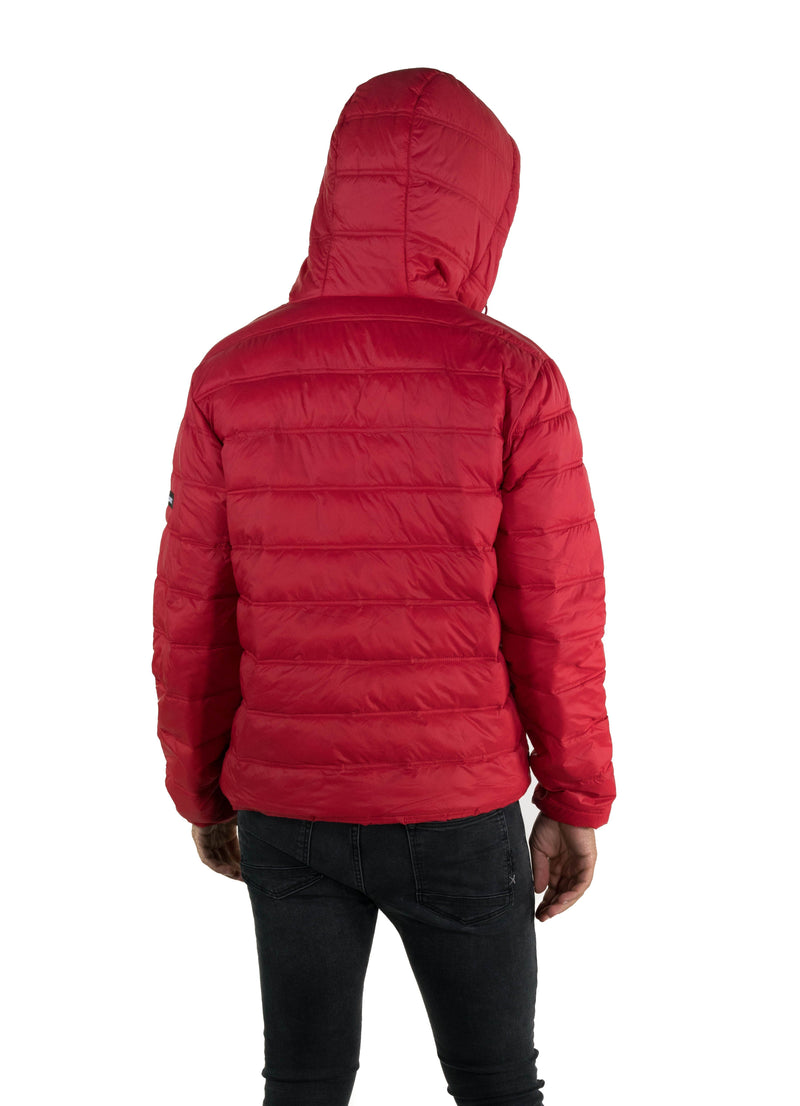 Men's Zip Front Puffer Jacket Red Back