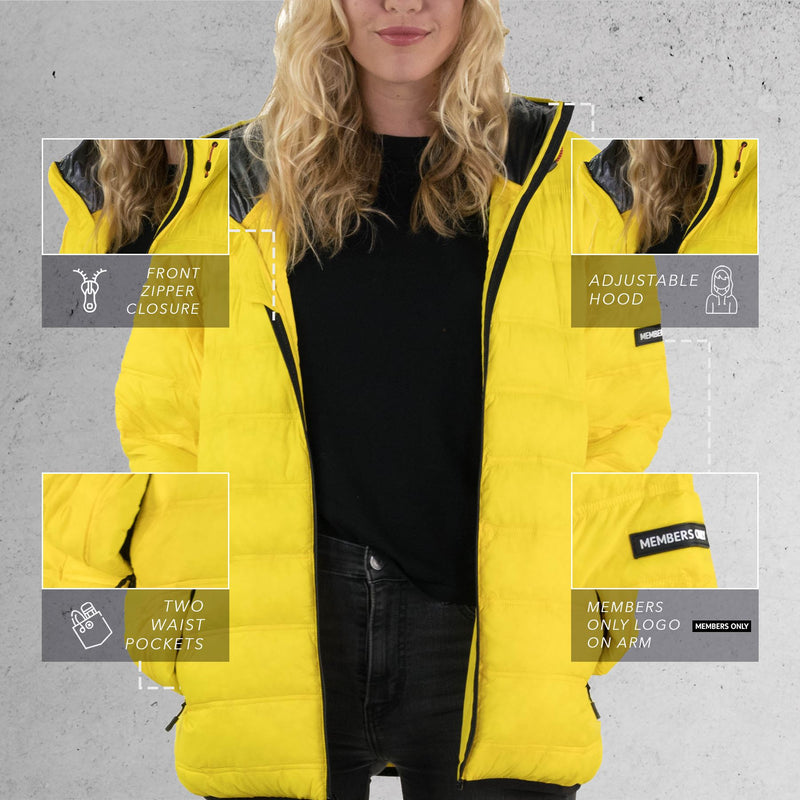 Members Only Zip Front Puffer Jacket for Women