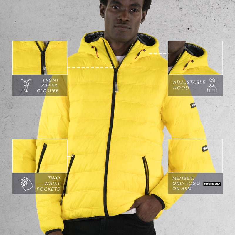 Men's Zip Front Puffer Jacket Yello Front