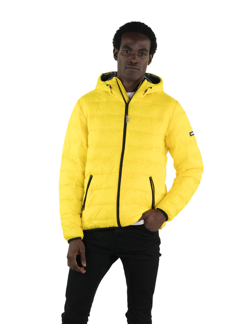 Men's Zip Front Puffer Jacket Yellow Front