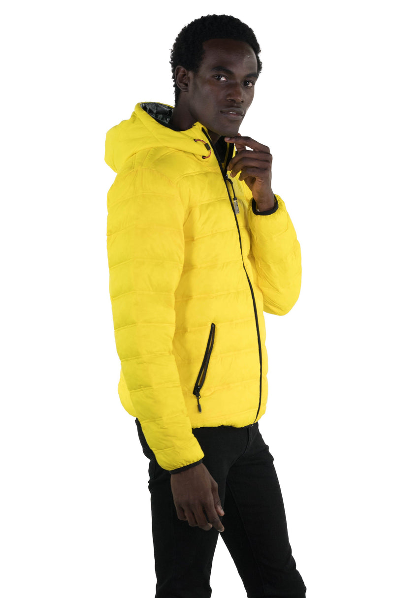 Men's Zip Front Puffer Jacket Yello Side
