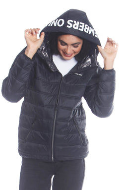 Men's Solid Packable Jacket For Women Unisex Members Only Official BLACK Small
