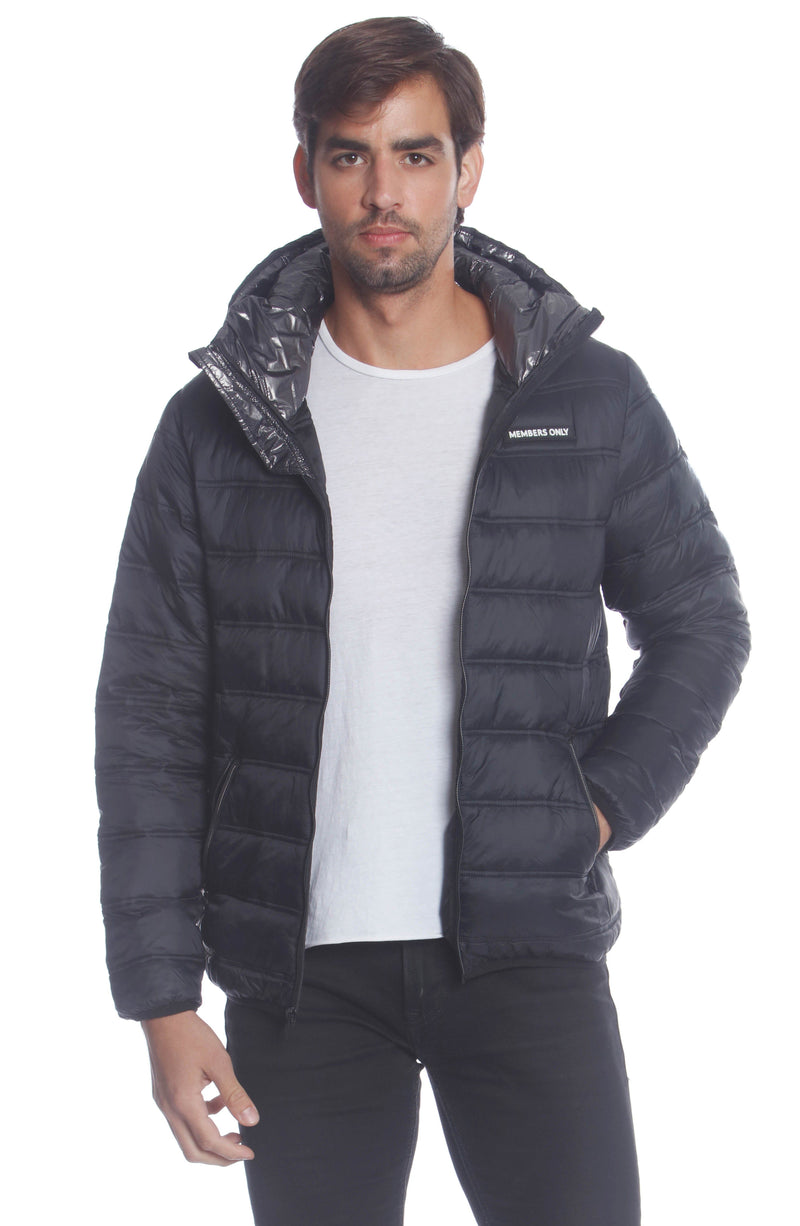 Men's Solid Packable Jacket Unisex Members Only Official BLACK Small