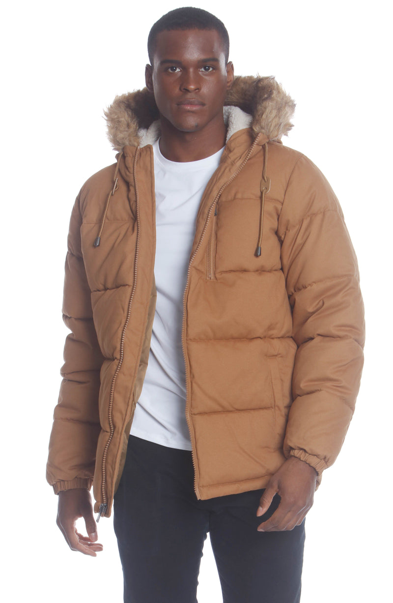 Men's Cotton Puffer Jacket Unisex Members Only Official WHEAT Small