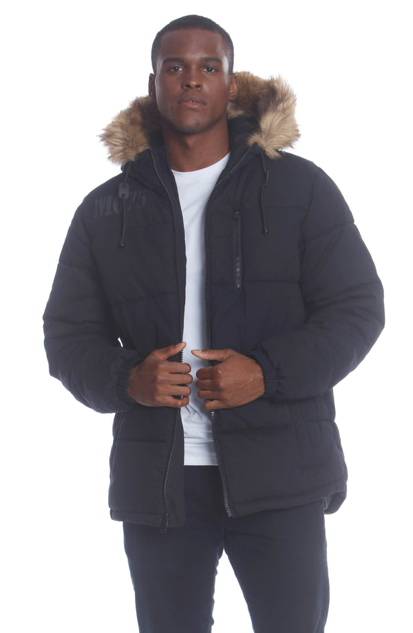 Men's Cotton Puffer Jacket Unisex Members Only Official BLACK Small