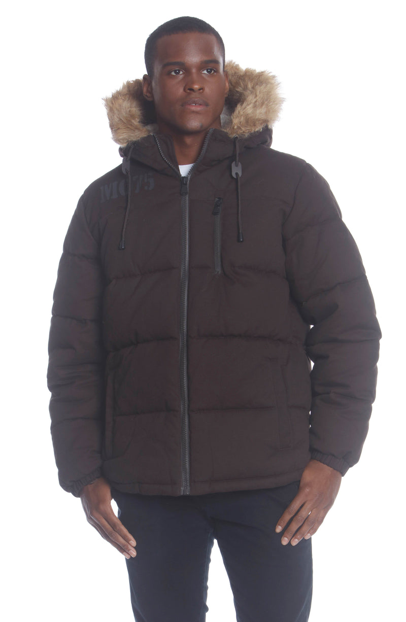 Shop Men's Cotton Puffer Jacket Unisex Members Only Official DARK BROWN Small