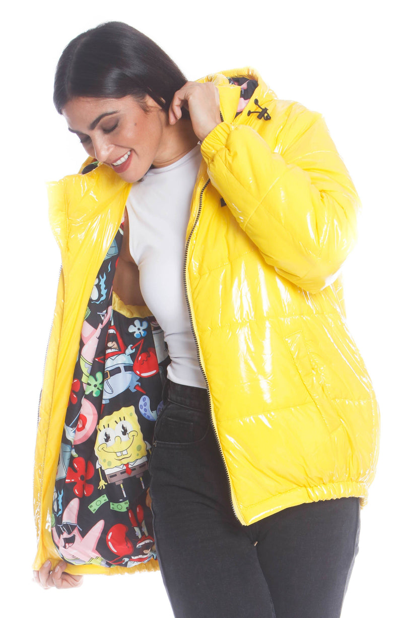 Men's Nickelodeon Shiny Collab Puffer Jacket For Women Unisex Members Only Official