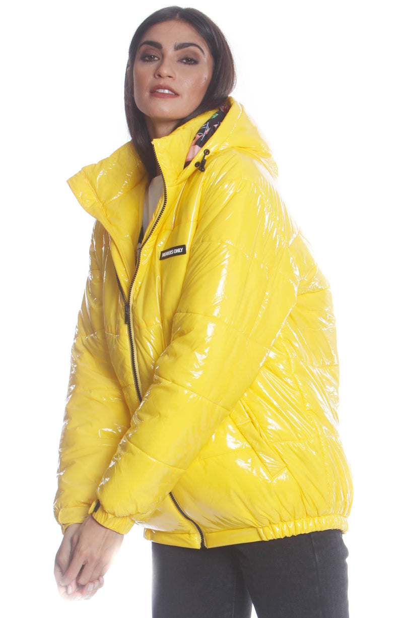 Men's Nickelodeon Shiny Collab Puffer Jacket For Women Unisex Members Only Official YELLOW Small