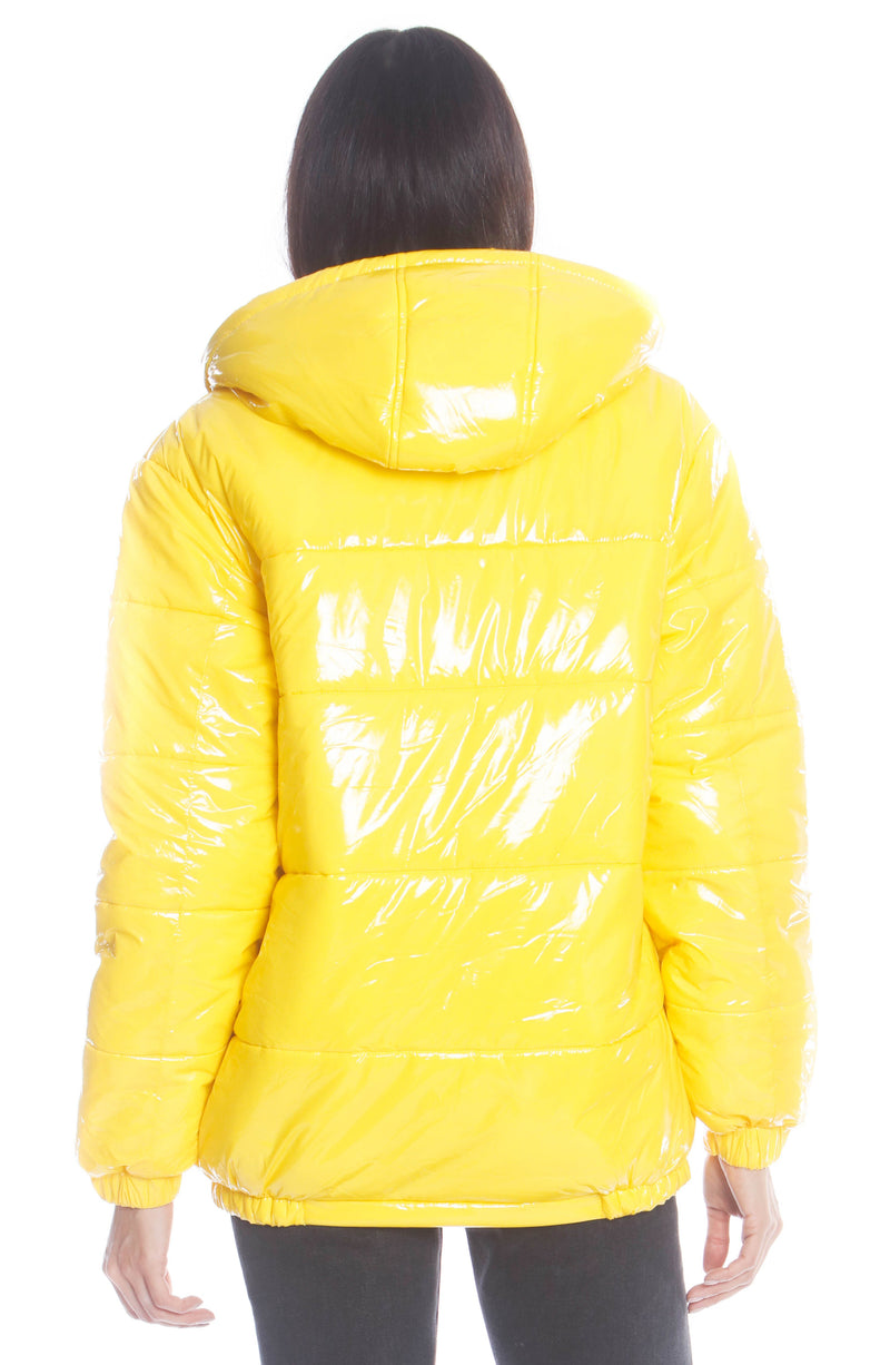 Women's Hi-Shine Chevron Quilt Puffer with Nickelodeon Mashup Print Lining Jacket Yellow