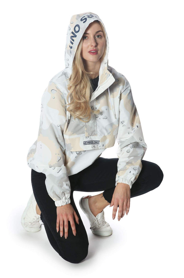 Men's Camo Print Popover Jacket for Women jacket Members Only Official SNOW CAMO Small