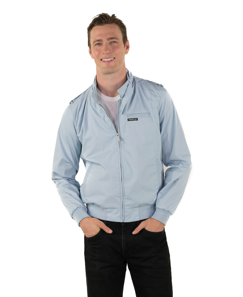Men's Classic Iconic Racer Jacket (Slim Fit) Unisex Members Only Dusty Sky Small