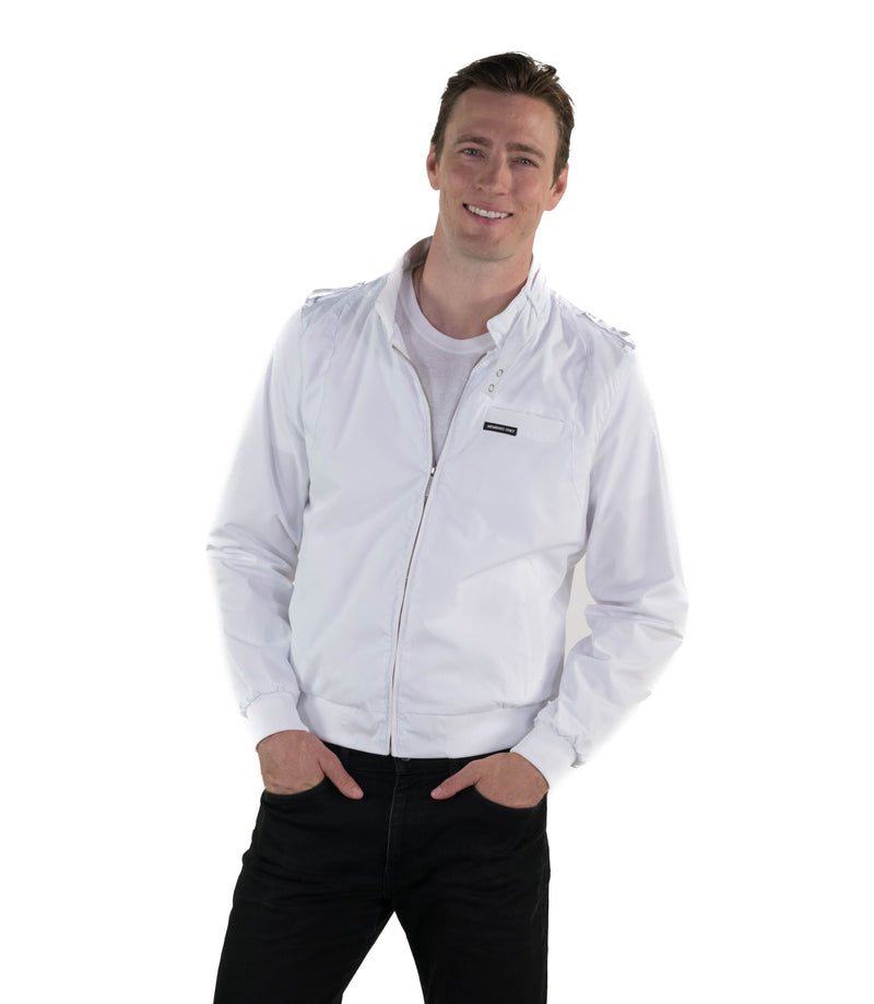 Men's Classic Iconic Racer Jacket (Slim Fit) Unisex Members Only White Small