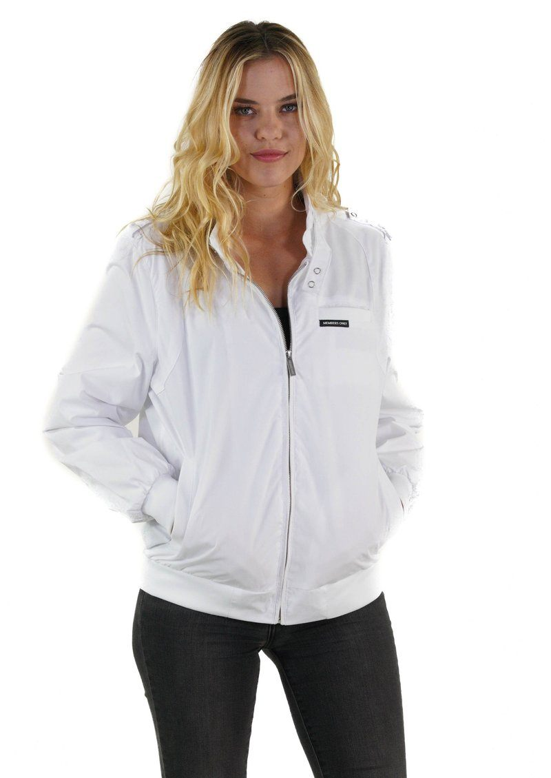 Men's Classic Iconic Racer Jacket for Women Unisex Members Only White Small