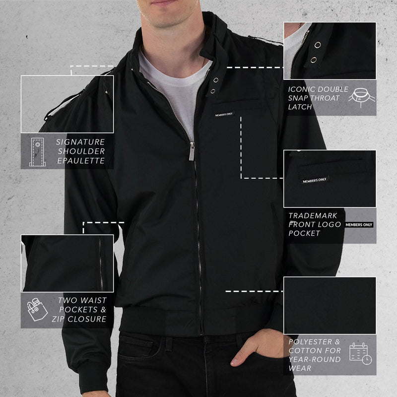 Members Only Black Original Iconic Racer Jacket