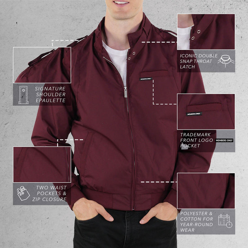Members Only Burgundy Classic Iconic Racer Jacket