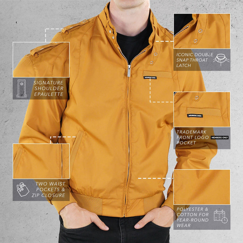 Members Only Wheat Classic Iconic Racer Jacket